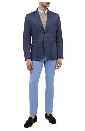 Мужские хлопковые брюки BRIONI голубого цвета, арт. SPPB0M/P8T01/MERIBEL | Фото 2