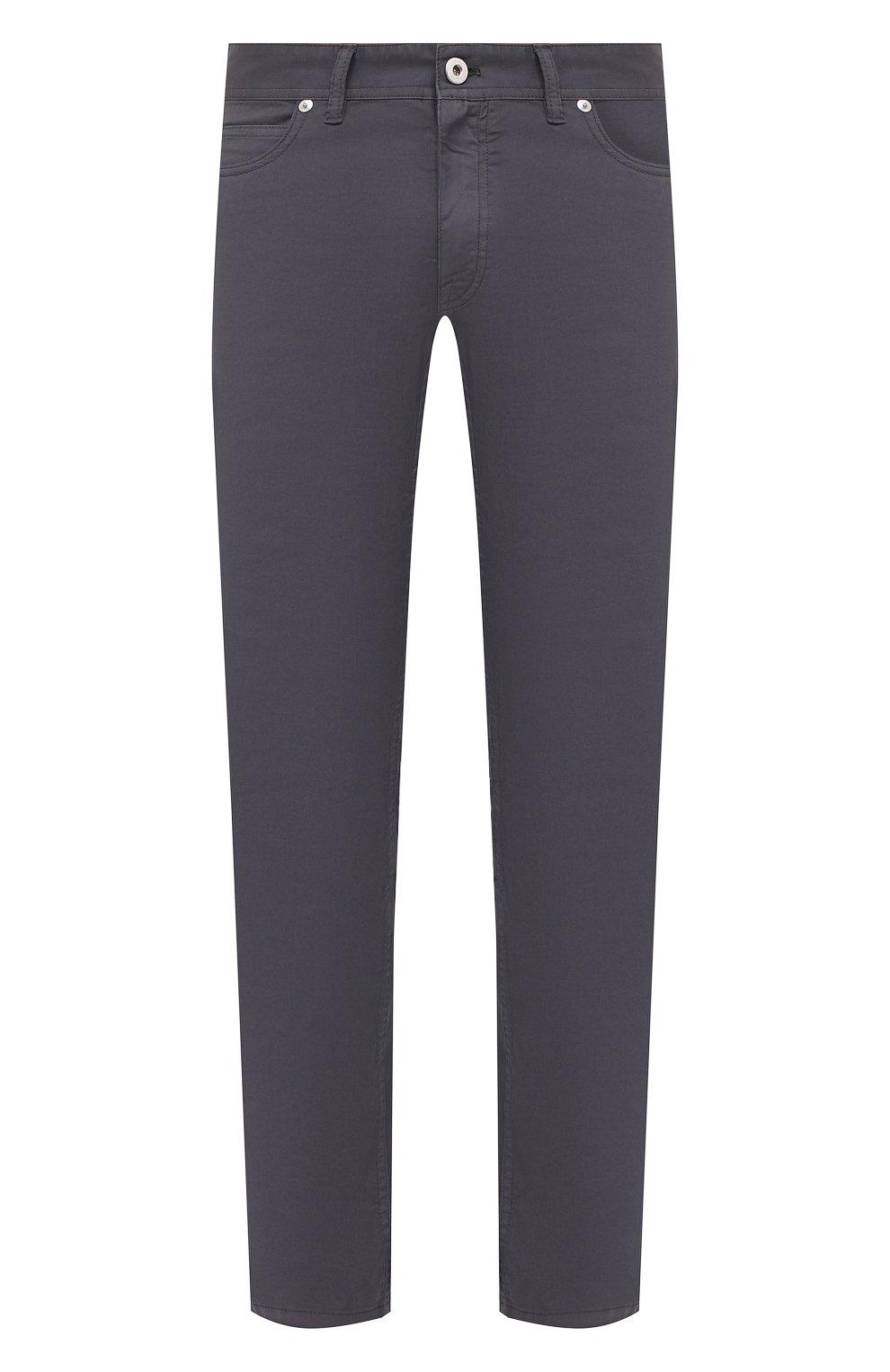 Мужские хлопковые брюки BRIONI серого цвета, арт. SPPB0M/P8T01/MERIBEL   Фото 1