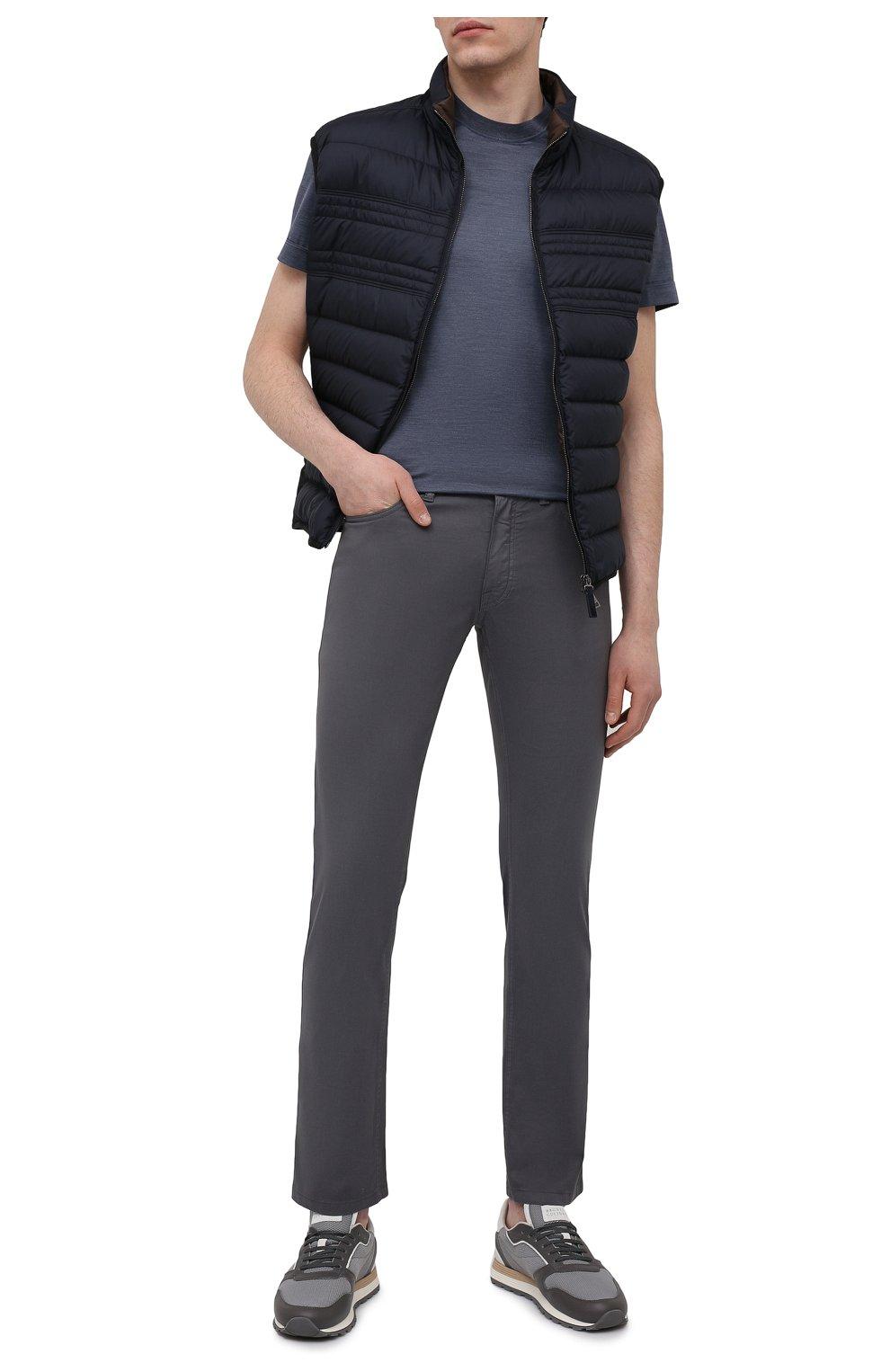 Мужские хлопковые брюки BRIONI серого цвета, арт. SPPB0M/P8T01/MERIBEL   Фото 2