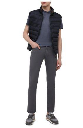 Мужские хлопковые брюки BRIONI серого цвета, арт. SPPB0M/P8T01/MERIBEL | Фото 2 (Материал внешний: Хлопок; Длина (брюки, джинсы): Стандартные; Случай: Повседневный; Стили: Кэжуэл)
