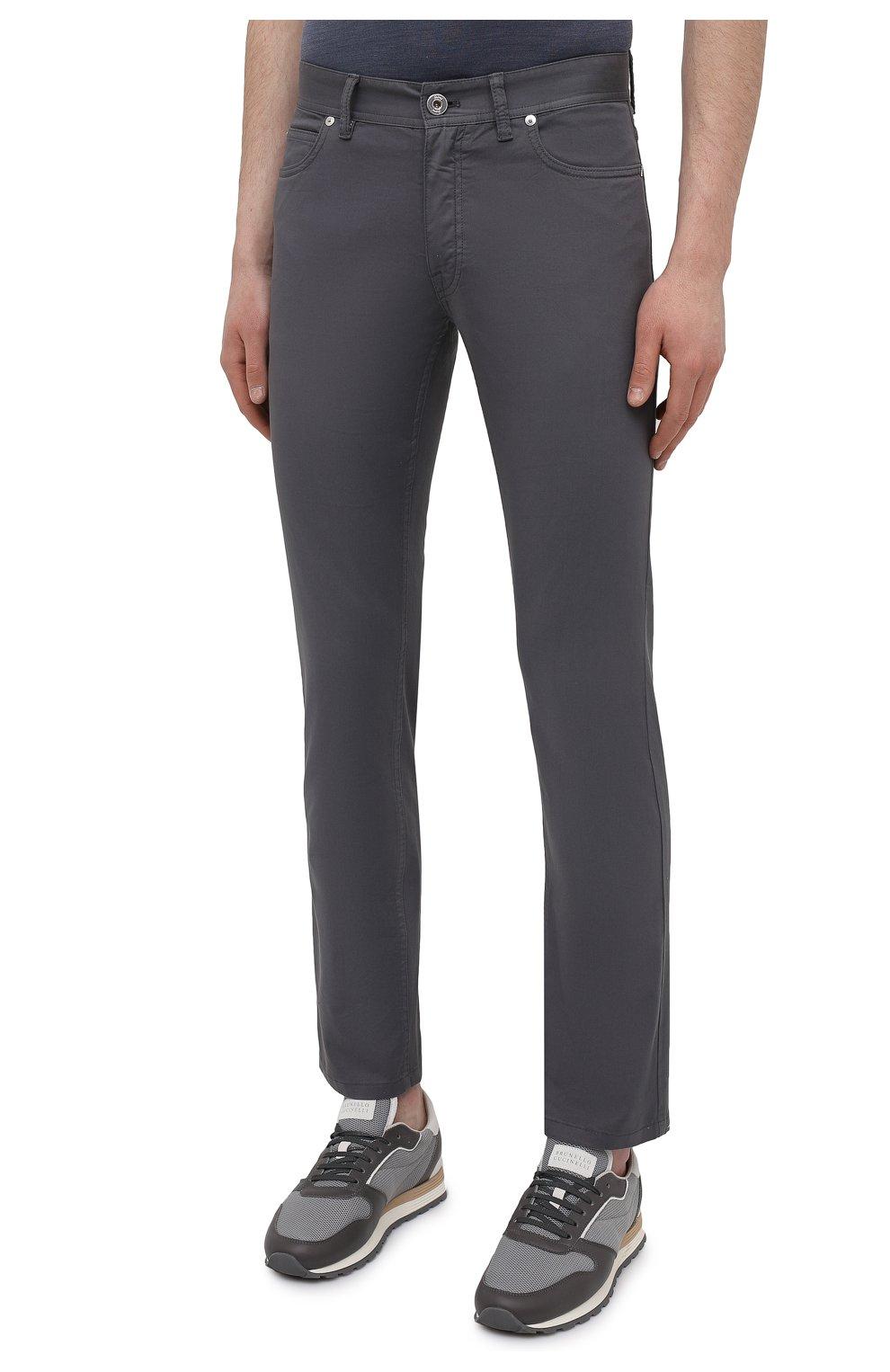 Мужские хлопковые брюки BRIONI серого цвета, арт. SPPB0M/P8T01/MERIBEL   Фото 3