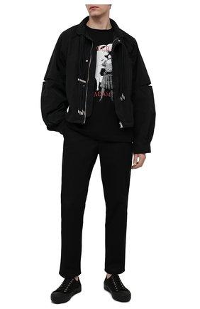 Мужская хлопковый лонгслив TEE LIBRARY черного цвета, арт. TSK-LL-33 | Фото 2 (Длина (для топов): Стандартные; Материал внешний: Хлопок; Рукава: Длинные; Принт: С принтом; Стили: Гранж)