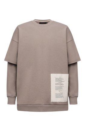 Мужской хлопковый свитшот TEE LIBRARY бежевого цвета, арт. TSK-LS-37 | Фото 1 (Рукава: Длинные; Длина (для топов): Стандартные; Материал внешний: Хлопок; Мужское Кросс-КТ: свитшот-одежда; Принт: С принтом; Стили: Гранж)