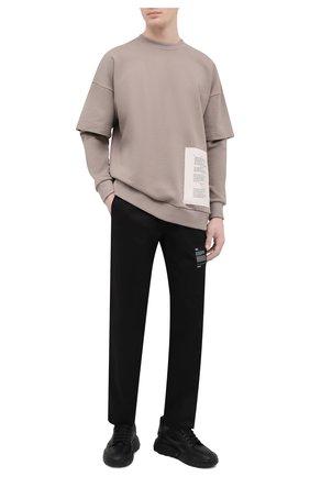 Мужской хлопковый свитшот TEE LIBRARY бежевого цвета, арт. TSK-LS-37 | Фото 2 (Рукава: Длинные; Длина (для топов): Стандартные; Материал внешний: Хлопок; Мужское Кросс-КТ: свитшот-одежда; Принт: С принтом; Стили: Гранж)