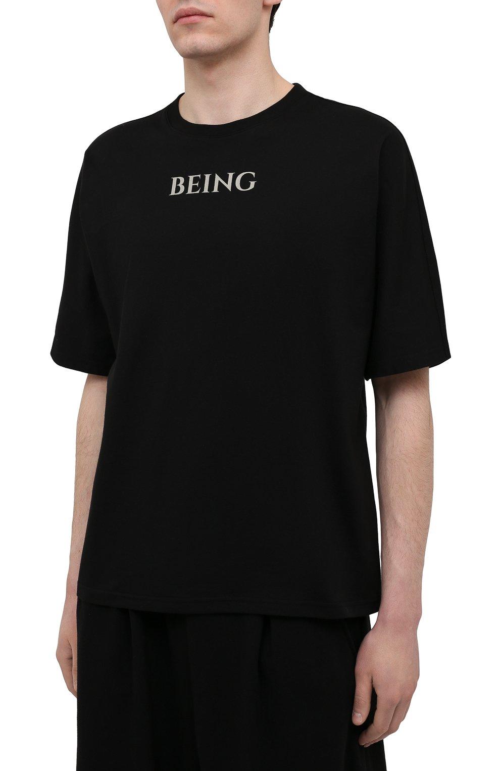 Мужская хлопковая футболка TEE LIBRARY черного цвета, арт. TSK-T0-28 | Фото 3 (Рукава: Короткие; Длина (для топов): Стандартные; Стили: Гранж; Принт: С принтом; Материал внешний: Хлопок)