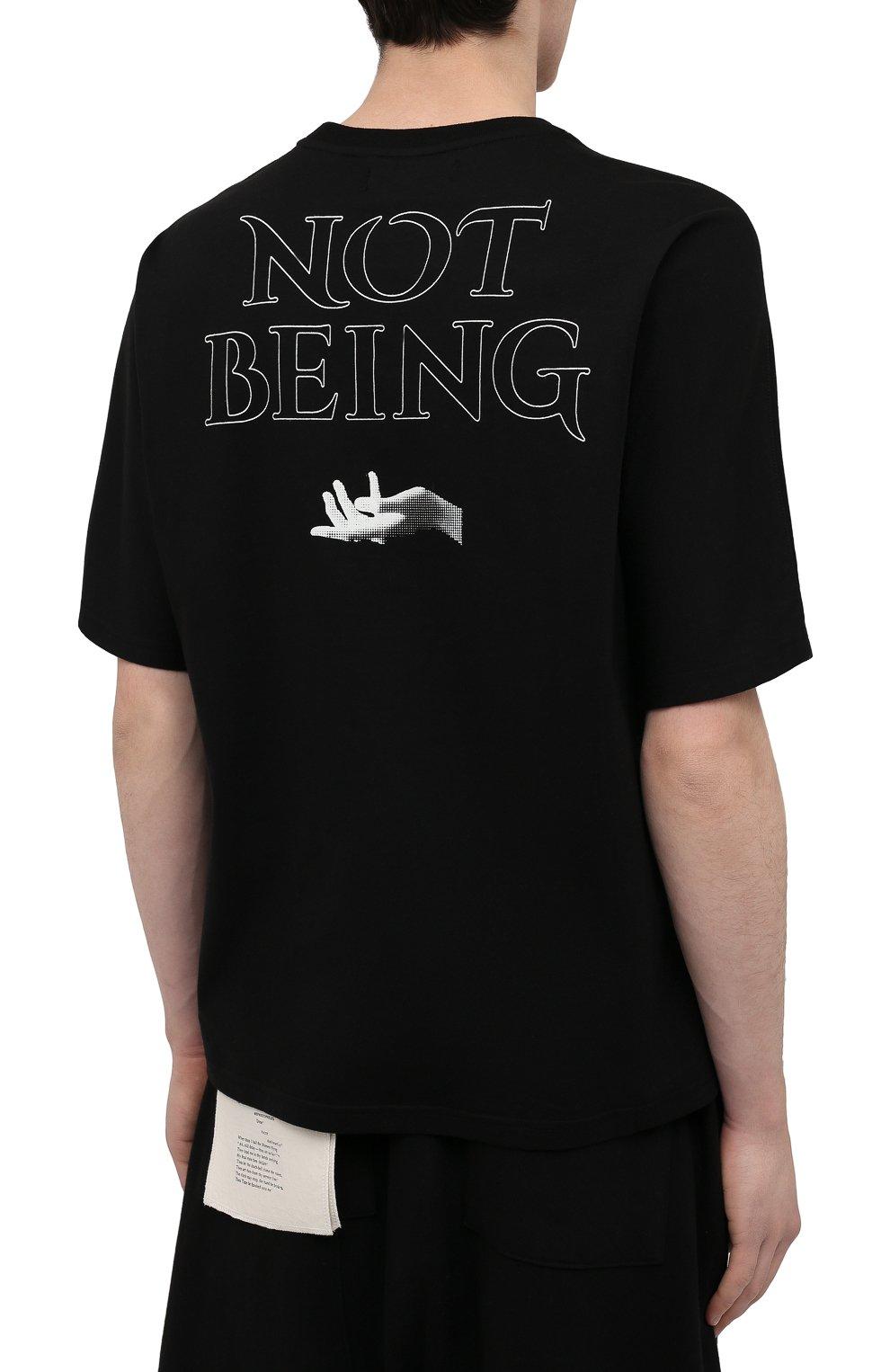 Мужская хлопковая футболка TEE LIBRARY черного цвета, арт. TSK-T0-28 | Фото 4 (Рукава: Короткие; Длина (для топов): Стандартные; Стили: Гранж; Принт: С принтом; Материал внешний: Хлопок)