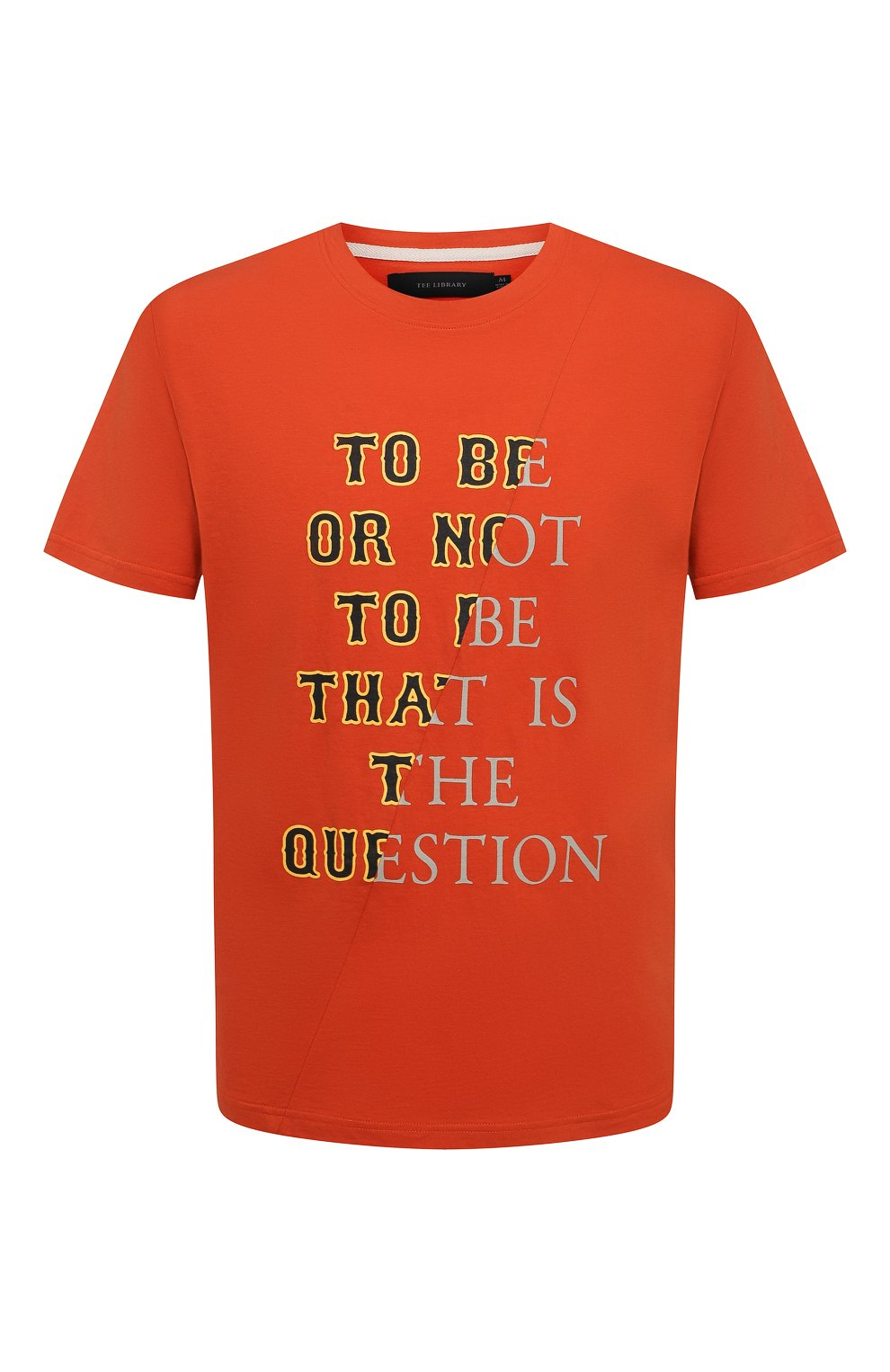 Мужская хлопковая футболка TEE LIBRARY оранжевого цвета, арт. TSK-TS-01 | Фото 1 (Рукава: Короткие; Длина (для топов): Стандартные; Принт: С принтом; Материал внешний: Хлопок; Стили: Кэжуэл)