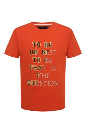 Мужская хлопковая футболка TEE LIBRARY оранжевого цвета, арт. TSK-TS-01 | Фото 1