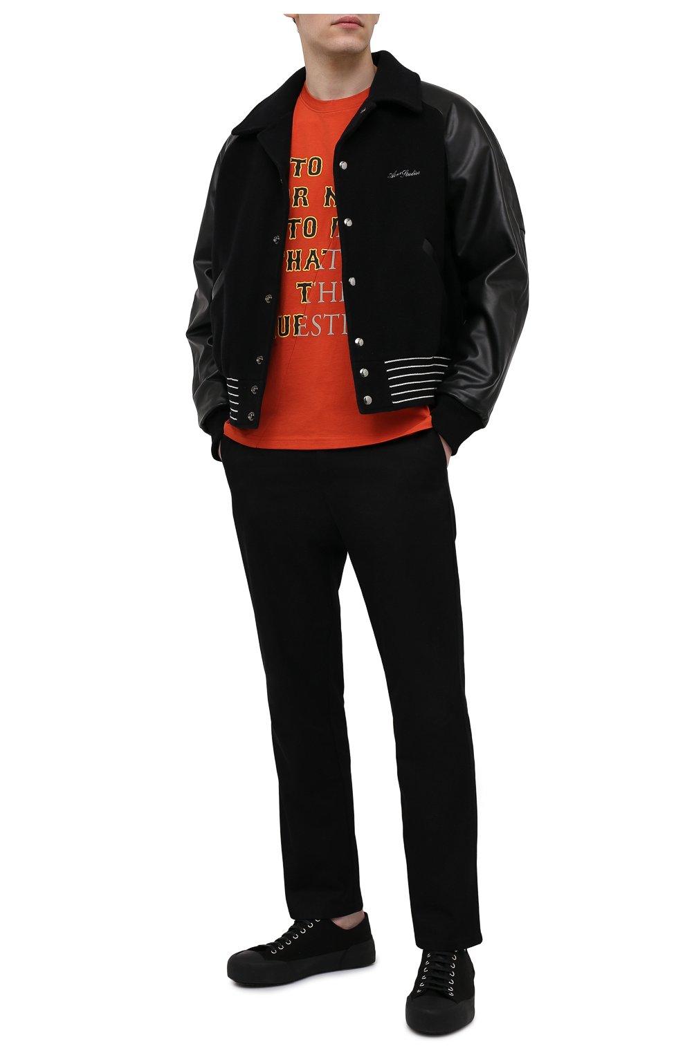 Мужская хлопковая футболка TEE LIBRARY оранжевого цвета, арт. TSK-TS-01 | Фото 2 (Рукава: Короткие; Длина (для топов): Стандартные; Принт: С принтом; Материал внешний: Хлопок; Стили: Кэжуэл)