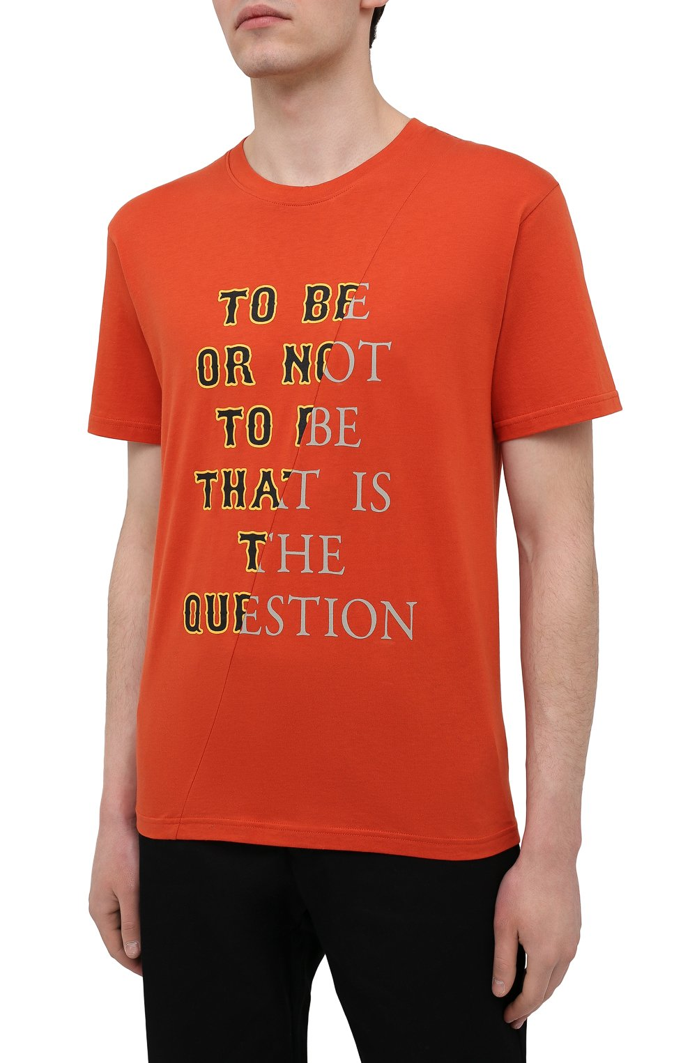 Мужская хлопковая футболка TEE LIBRARY оранжевого цвета, арт. TSK-TS-01 | Фото 3 (Рукава: Короткие; Длина (для топов): Стандартные; Принт: С принтом; Материал внешний: Хлопок; Стили: Кэжуэл)