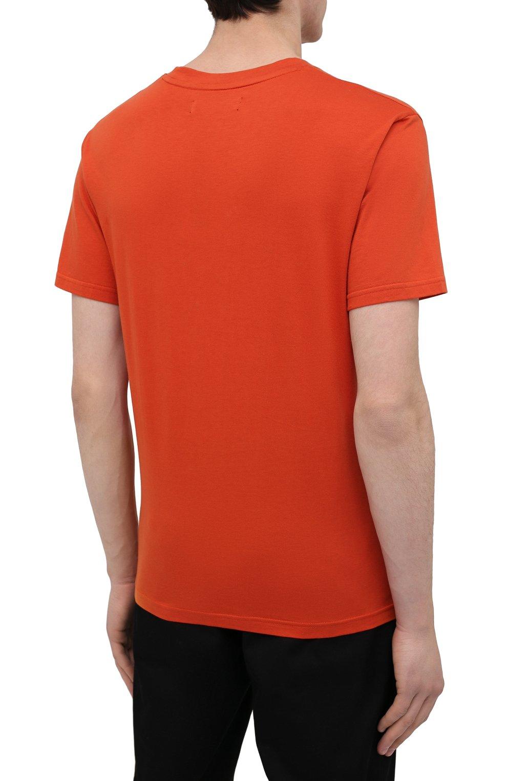 Мужская хлопковая футболка TEE LIBRARY оранжевого цвета, арт. TSK-TS-01 | Фото 4 (Рукава: Короткие; Длина (для топов): Стандартные; Принт: С принтом; Материал внешний: Хлопок; Стили: Кэжуэл)