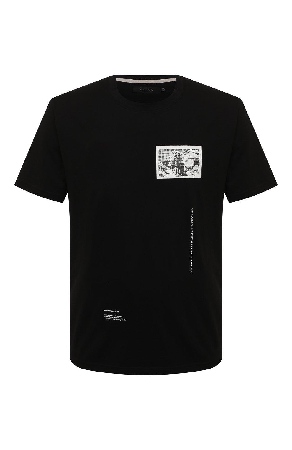 Мужская хлопковая футболка TEE LIBRARY черного цвета, арт. TSK-TS-15 | Фото 1 (Рукава: Короткие; Длина (для топов): Стандартные; Стили: Гранж, Кэжуэл; Принт: С принтом; Материал внешний: Хлопок)