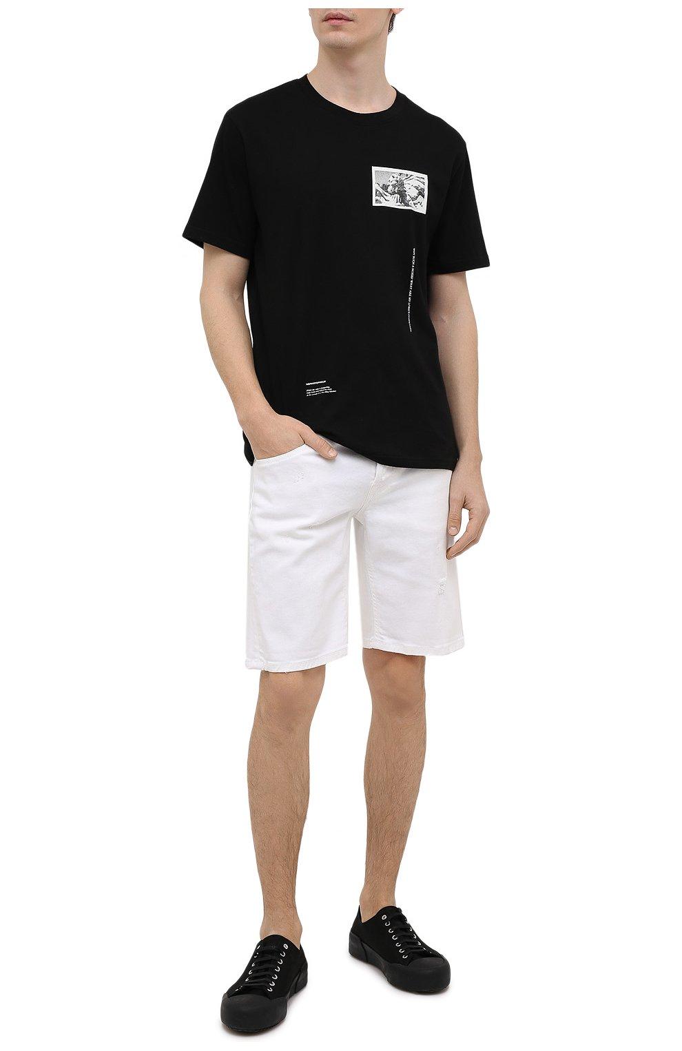 Мужская хлопковая футболка TEE LIBRARY черного цвета, арт. TSK-TS-15 | Фото 2 (Рукава: Короткие; Длина (для топов): Стандартные; Стили: Гранж, Кэжуэл; Принт: С принтом; Материал внешний: Хлопок)