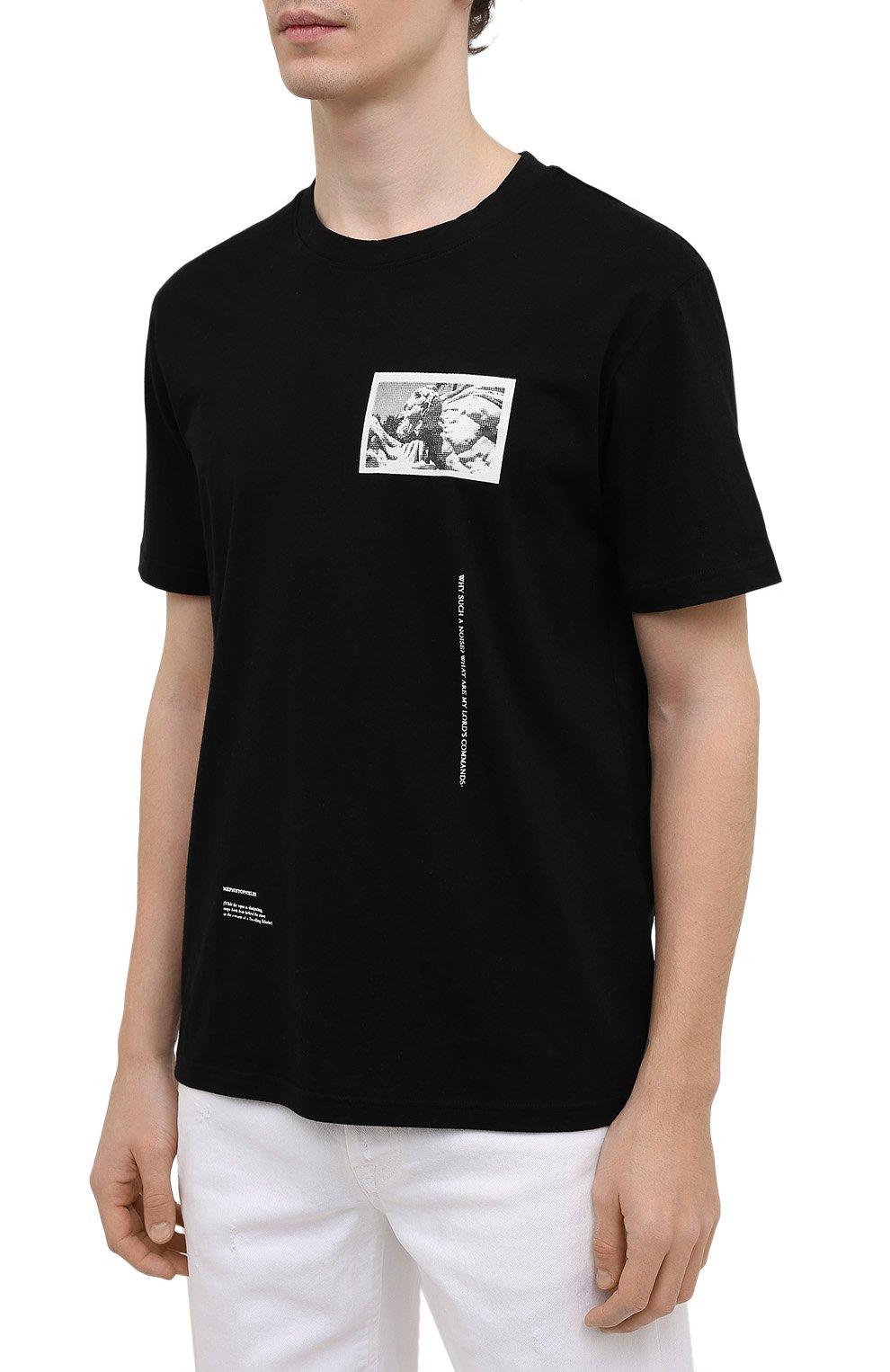Мужская хлопковая футболка TEE LIBRARY черного цвета, арт. TSK-TS-15 | Фото 3 (Рукава: Короткие; Длина (для топов): Стандартные; Стили: Гранж, Кэжуэл; Принт: С принтом; Материал внешний: Хлопок)
