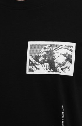 Мужская хлопковая футболка TEE LIBRARY черного цвета, арт. TSK-TS-15 | Фото 5 (Рукава: Короткие; Длина (для топов): Стандартные; Стили: Гранж, Кэжуэл; Принт: С принтом; Материал внешний: Хлопок)
