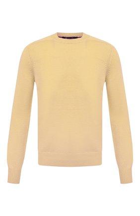 Мужской свитер из хлопка и шелка LORO PIANA желтого цвета, арт. FAI0661 | Фото 1