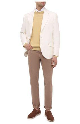 Мужской свитер из хлопка и шелка LORO PIANA желтого цвета, арт. FAI0661 | Фото 2