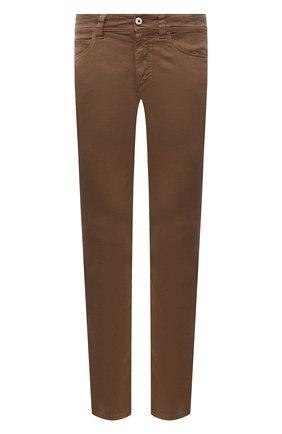 Мужские брюки изо льна и хлопка LORO PIANA коричневого цвета, арт. FAI1646   Фото 1 (Материал внешний: Лен, Хлопок; Длина (брюки, джинсы): Стандартные; Случай: Повседневный; Стили: Кэжуэл)