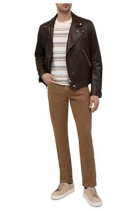 Мужские брюки изо льна и хлопка LORO PIANA коричневого цвета, арт. FAI1646   Фото 2 (Материал внешний: Лен, Хлопок; Длина (брюки, джинсы): Стандартные; Случай: Повседневный; Стили: Кэжуэл)