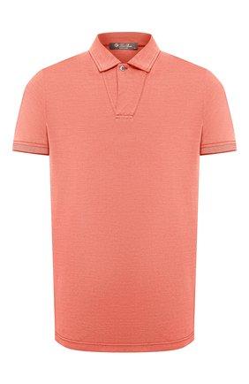 Мужское поло из хлопка и шелка LORO PIANA оранжевого цвета, арт. FAL3407 | Фото 1