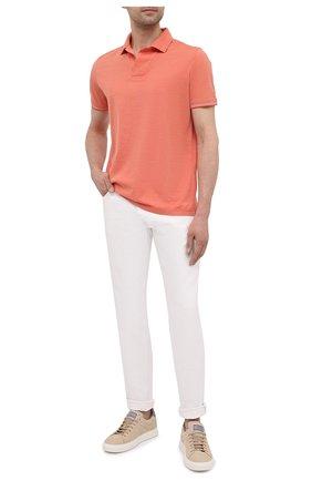 Мужское поло из хлопка и шелка LORO PIANA оранжевого цвета, арт. FAL3407 | Фото 2