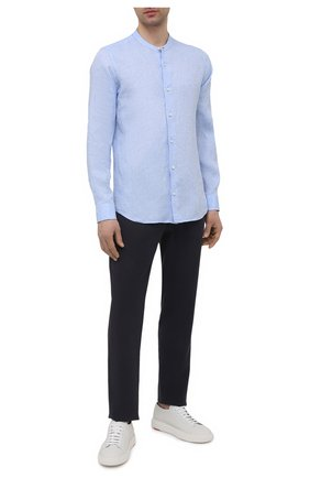 Мужские льняные брюки LORO PIANA темно-синего цвета, арт. FAL6164 | Фото 2