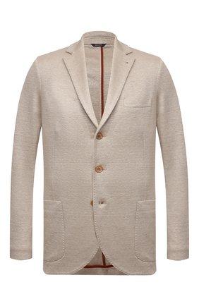 Мужской льняной пиджак LORO PIANA бежевого цвета, арт. FAL6386 | Фото 1
