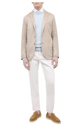 Мужской льняной пиджак LORO PIANA бежевого цвета, арт. FAL6386 | Фото 2