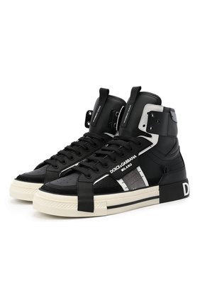 Мужские кожаные кеды custom 2.zero DOLCE & GABBANA черного цвета, арт. CS1870/A0223 | Фото 1