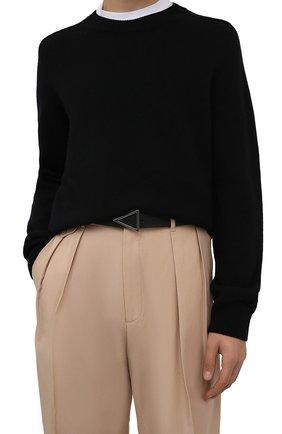 Мужской кожаный ремень BOTTEGA VENETA черного цвета, арт. 657154/VCP51 | Фото 2