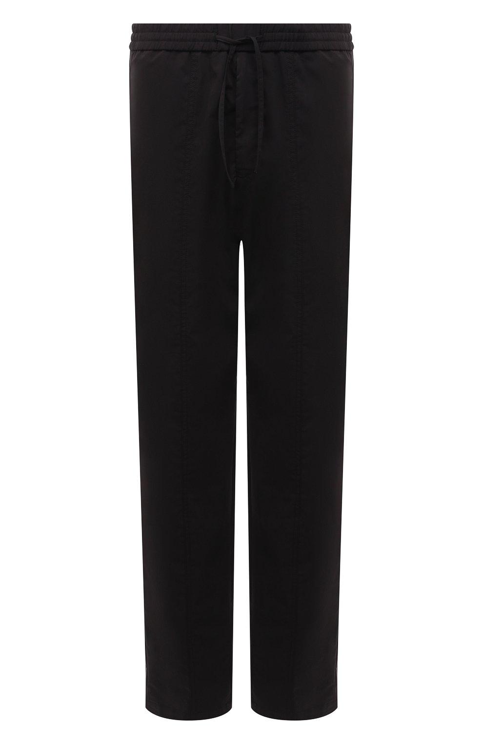 Мужские брюки EMPORIO ARMANI черного цвета, арт. A1P740/A1066   Фото 1 (Длина (брюки, джинсы): Стандартные; Случай: Повседневный; Материал внешний: Синтетический материал, Хлопок; Стили: Кэжуэл)