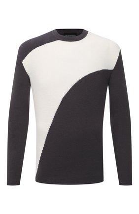 Мужской хлопковый свитер EMPORIO ARMANI серого цвета, арт. 3K1MT7/1MDCZ | Фото 1 (Длина (для топов): Стандартные; Рукава: Длинные; Материал внешний: Хлопок; Мужское Кросс-КТ: Свитер-одежда; Принт: С принтом; Стили: Кэжуэл)