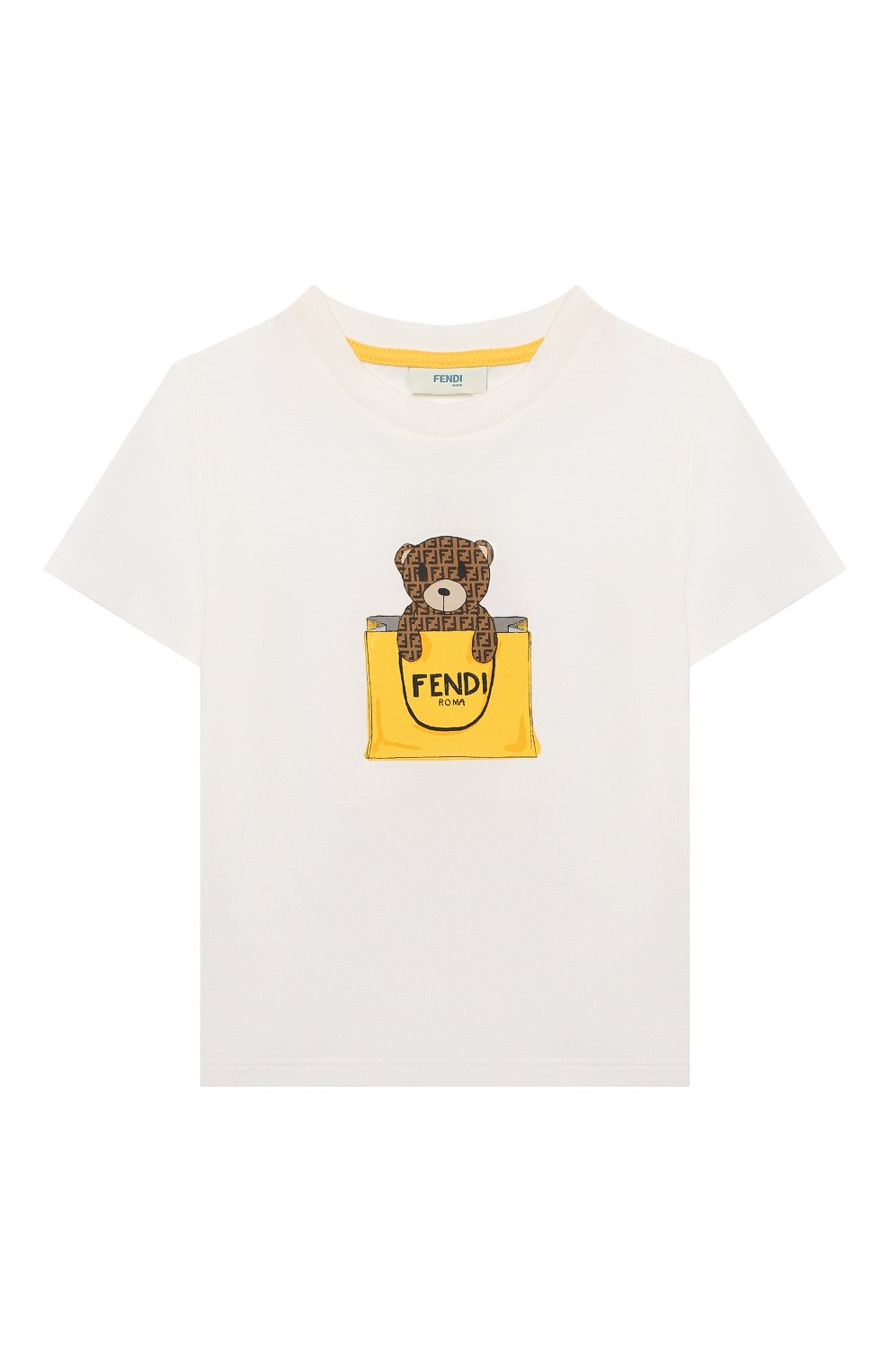 Детский хлопковая футболка FENDI белого цвета, арт. BUI016/ST8/12M-24M | Фото 1