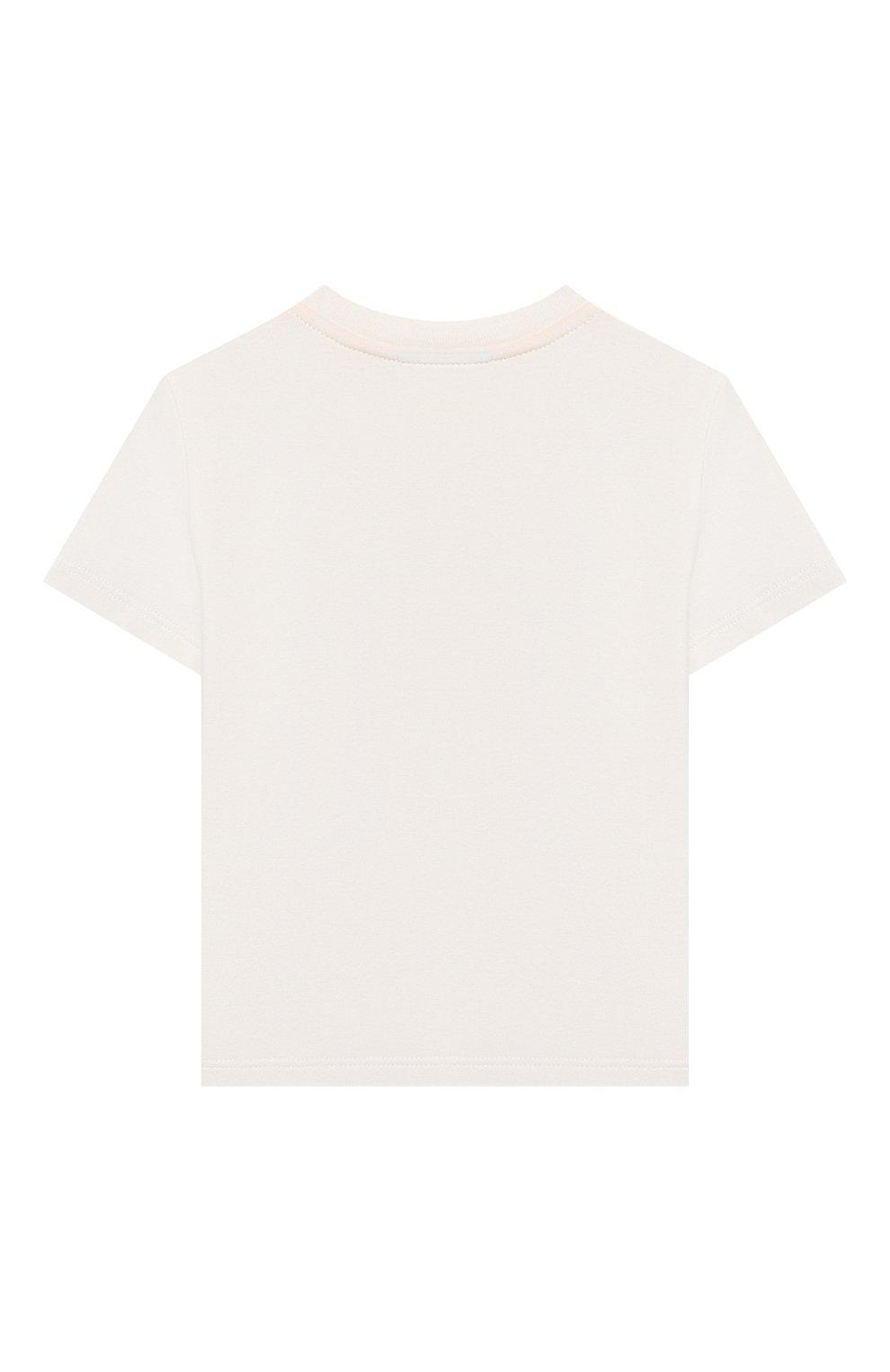 Детский хлопковая футболка FENDI белого цвета, арт. BUI016/ST8/12M-24M | Фото 2