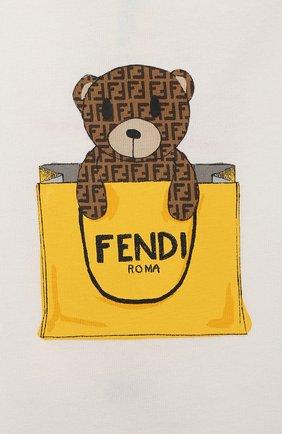 Детский хлопковая футболка FENDI белого цвета, арт. BUI016/ST8/12M-24M | Фото 3