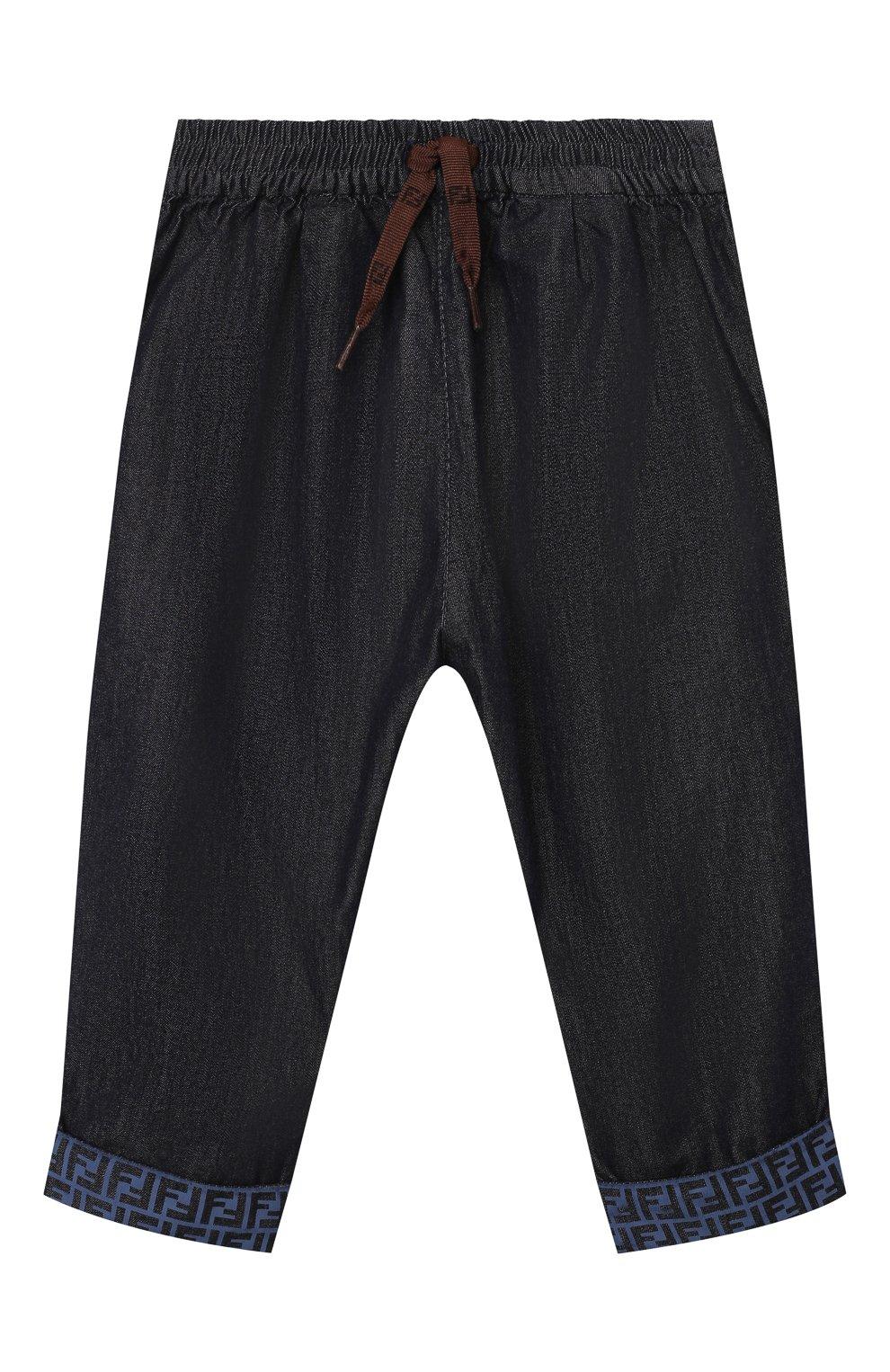 Детские хлопковые брюки FENDI темно-синего цвета, арт. BUF044/AEY4/12M-24M   Фото 1