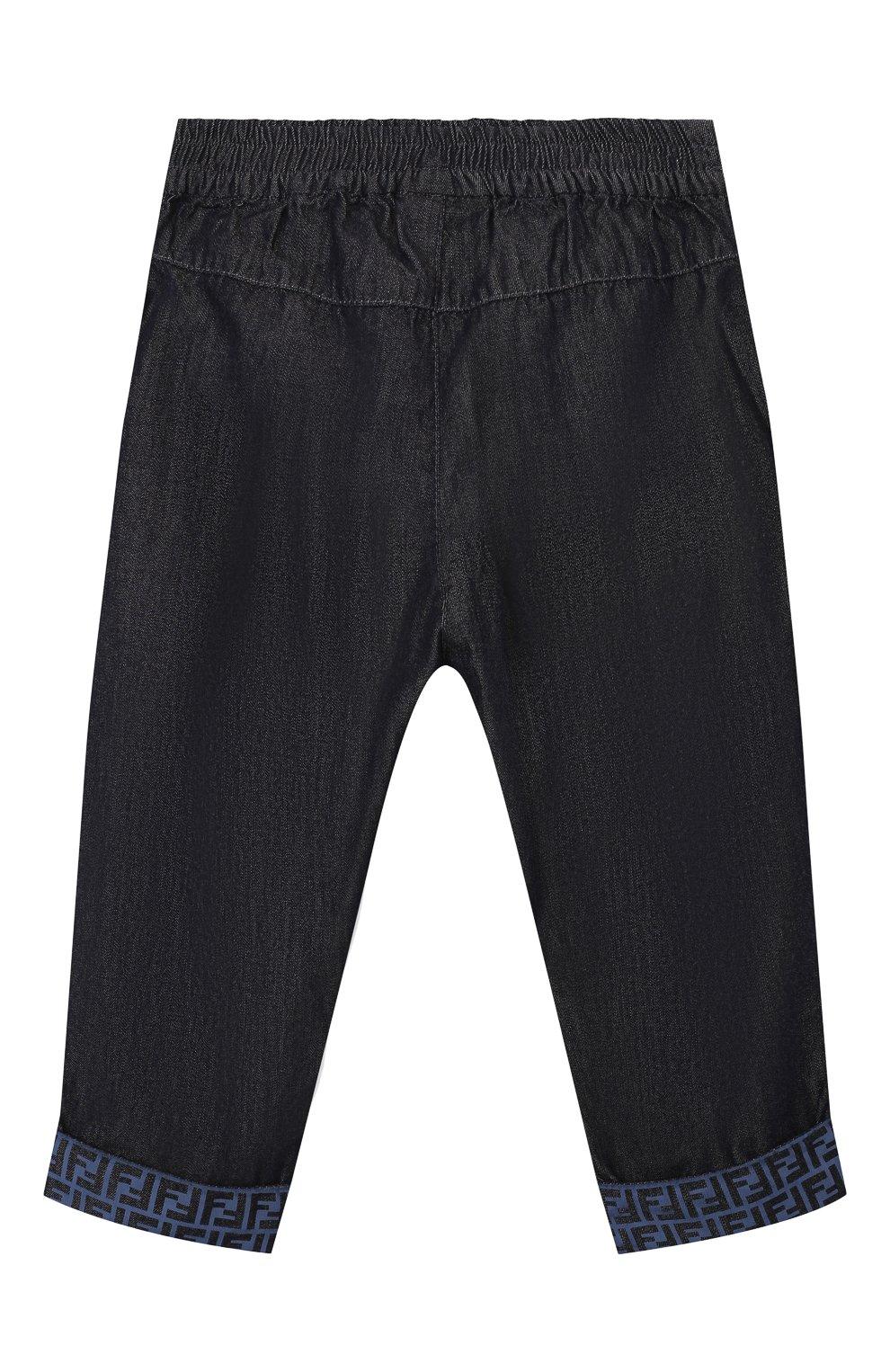 Детские хлопковые брюки FENDI темно-синего цвета, арт. BUF044/AEY4/12M-24M   Фото 2