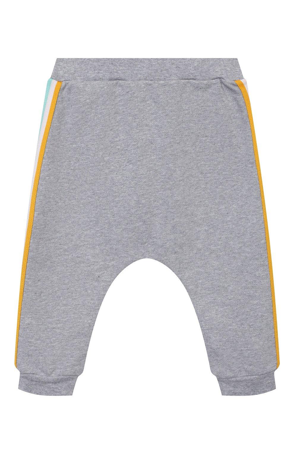 Детские хлопковые джоггеры FENDI серого цвета, арт. BUF027/5V0/12M-24M | Фото 1