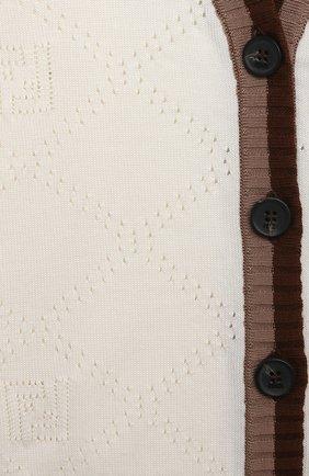 Детский хлопковый кардиган FENDI белого цвета, арт. BMG087/AEXF/12M-24M | Фото 3