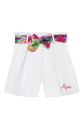 Детские хлопковые шорты MSGM KIDS белого цвета, арт. MS026856 | Фото 1