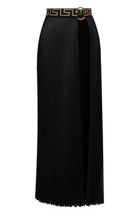 Женская плиссированная юбка VERSACE черного цвета, арт. ABD10032/1F00609 | Фото 1