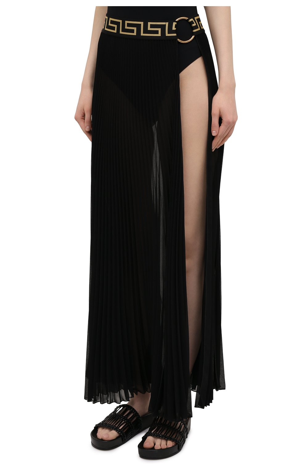Женская плиссированная юбка VERSACE черного цвета, арт. ABD10032/1F00609 | Фото 3