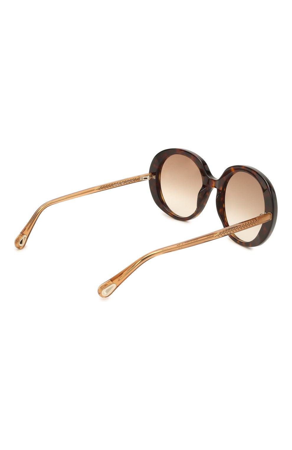 Женские солнцезащитные очки CHLOÉ коричневого цвета, арт. CH0007S | Фото 4