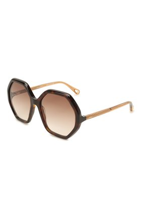 Женские солнцезащитные очки CHLOÉ коричневого цвета, арт. CH0008S | Фото 1