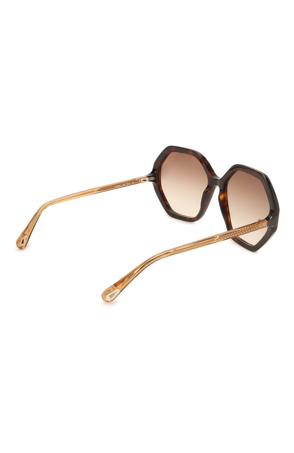 Женские солнцезащитные очки CHLOÉ коричневого цвета, арт. CH0008S | Фото 4