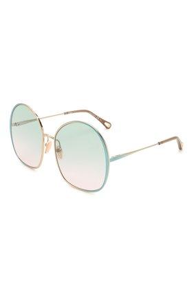 Женские солнцезащитные очки CHLOÉ зеленого цвета, арт. CH0014S   Фото 1 (Тип очков: С/з; Очки форма: Over-size)