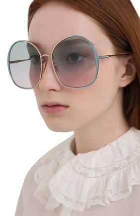 Женские солнцезащитные очки CHLOÉ зеленого цвета, арт. CH0014S   Фото 2 (Тип очков: С/з; Очки форма: Over-size)