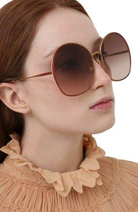Женские солнцезащитные очки CHLOÉ коричневого цвета, арт. CH0014S   Фото 2