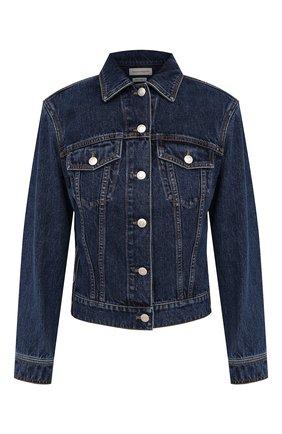 Женская джинсовая куртка ALEXANDER MCQUEEN синего цвета, арт. 650672/QMABB | Фото 1 (Рукава: Длинные; Материал внешний: Хлопок; Стили: Кэжуэл; Длина (верхняя одежда): Короткие; Кросс-КТ: Деним, Куртка)