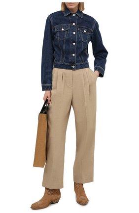 Женская джинсовая куртка ALEXANDER MCQUEEN синего цвета, арт. 650672/QMABB | Фото 2 (Рукава: Длинные; Материал внешний: Хлопок; Стили: Кэжуэл; Длина (верхняя одежда): Короткие; Кросс-КТ: Деним, Куртка)